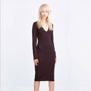 Zara purple v neck pencil dress nwt